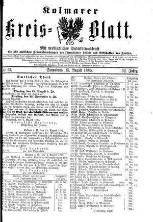 Kolmarer Kreisblatt on Aug 15, 1885
