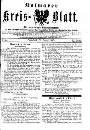 Kolmarer Kreisblatt vom 22.08.1885