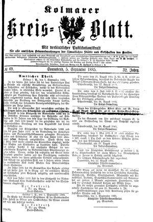 Kolmarer Kreisblatt vom 05.09.1885