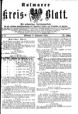 Kolmarer Kreisblatt vom 09.09.1885