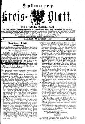 Kolmarer Kreisblatt vom 12.09.1885