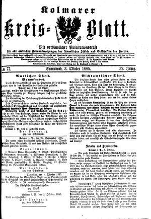 Kolmarer Kreisblatt vom 03.10.1885