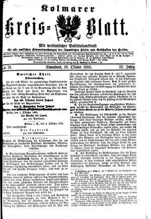 Kolmarer Kreisblatt vom 10.10.1885
