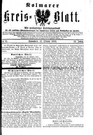 Kolmarer Kreisblatt vom 17.10.1885