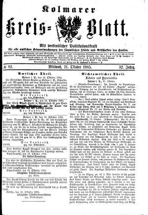 Kolmarer Kreisblatt vom 21.10.1885