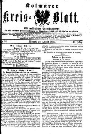 Kolmarer Kreisblatt vom 28.10.1885