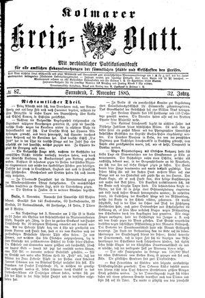 Kolmarer Kreisblatt vom 07.11.1885