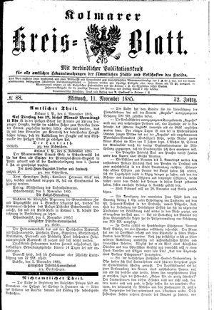Kolmarer Kreisblatt vom 11.11.1885