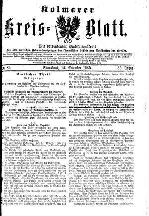 Kolmarer Kreisblatt vom 14.11.1885
