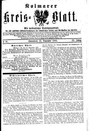 Kolmarer Kreisblatt vom 21.11.1885