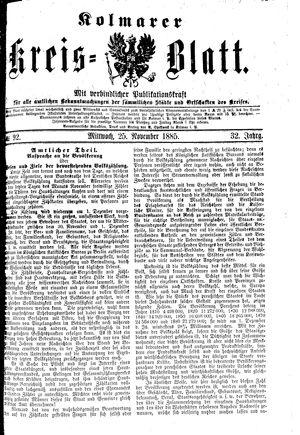 Kolmarer Kreisblatt vom 25.11.1885