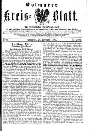 Kolmarer Kreisblatt vom 28.11.1885