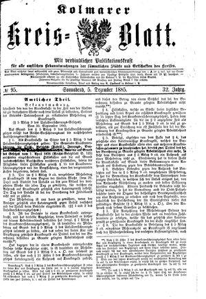 Kolmarer Kreisblatt vom 05.12.1885