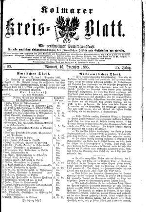 Kolmarer Kreisblatt vom 16.12.1885
