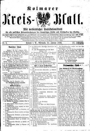 Kolmarer Kreisblatt vom 13.01.1886