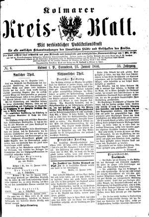 Kolmarer Kreisblatt vom 23.01.1886