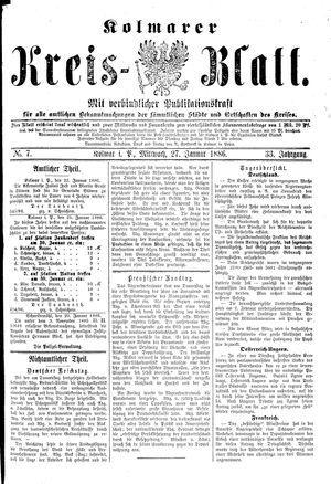 Kolmarer Kreisblatt vom 27.01.1886