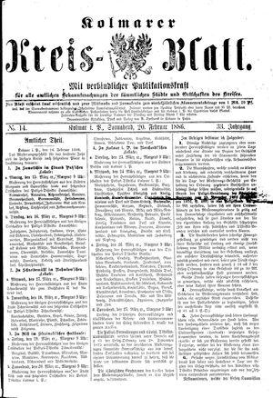 Kolmarer Kreisblatt vom 20.02.1886