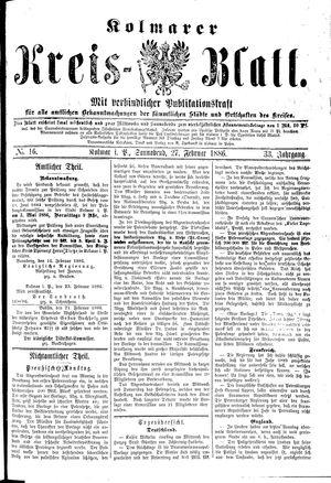 Kolmarer Kreisblatt vom 27.02.1886