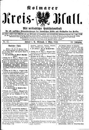 Kolmarer Kreisblatt vom 03.03.1886
