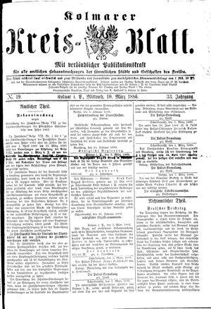 Kolmarer Kreisblatt vom 10.03.1886