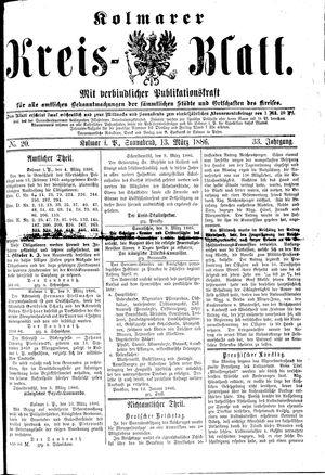 Kolmarer Kreisblatt vom 13.03.1886