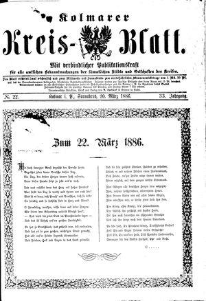 Kolmarer Kreisblatt vom 20.03.1886
