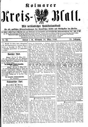 Kolmarer Kreisblatt vom 24.03.1886