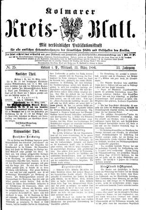 Kolmarer Kreisblatt vom 31.03.1886
