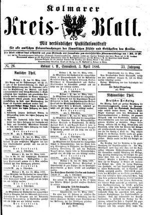 Kolmarer Kreisblatt vom 03.04.1886