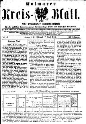 Kolmarer Kreisblatt vom 07.04.1886