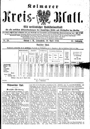 Kolmarer Kreisblatt vom 10.04.1886