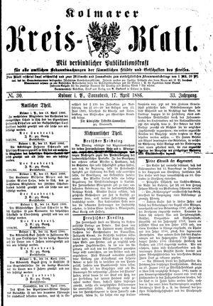 Kolmarer Kreisblatt vom 17.04.1886