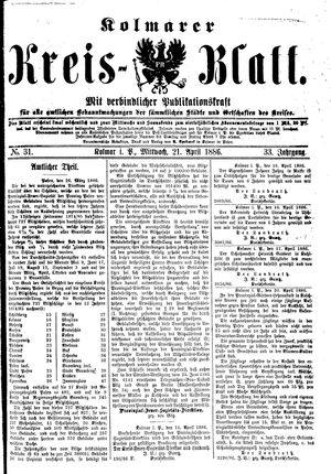 Kolmarer Kreisblatt vom 21.04.1886