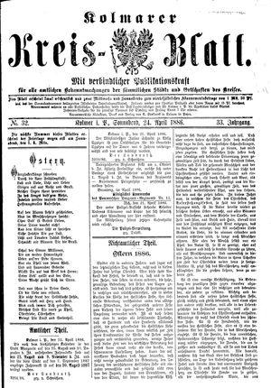 Kolmarer Kreisblatt vom 24.04.1886