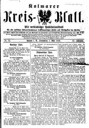 Kolmarer Kreisblatt vom 01.05.1886