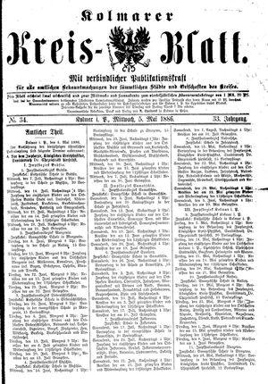 Kolmarer Kreisblatt vom 05.05.1886