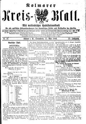 Kolmarer Kreisblatt vom 15.05.1886
