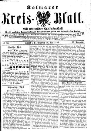 Kolmarer Kreisblatt vom 19.05.1886