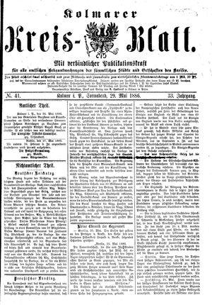 Kolmarer Kreisblatt vom 29.05.1886