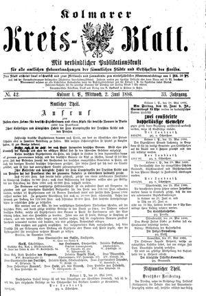 Kolmarer Kreisblatt vom 02.06.1886