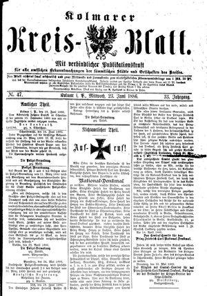 Kolmarer Kreisblatt vom 23.06.1886