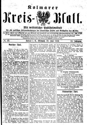 Kolmarer Kreisblatt vom 30.06.1886