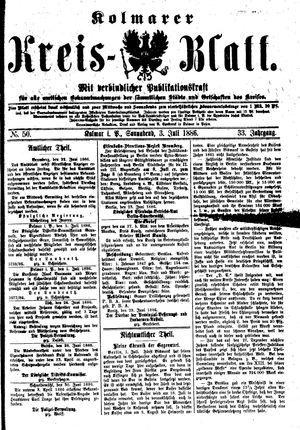 Kolmarer Kreisblatt vom 03.07.1886