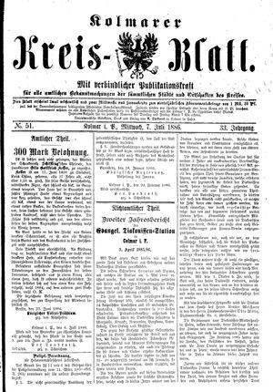 Kolmarer Kreisblatt vom 07.07.1886