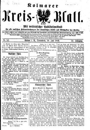 Kolmarer Kreisblatt vom 10.07.1886