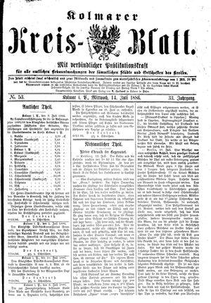 Kolmarer Kreisblatt vom 14.07.1886