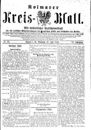 Kolmarer Kreisblatt vom 21.07.1886