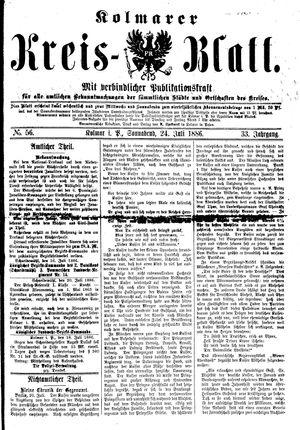Kolmarer Kreisblatt vom 24.07.1886