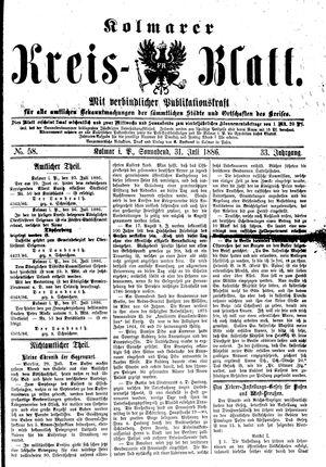 Kolmarer Kreisblatt vom 31.07.1886